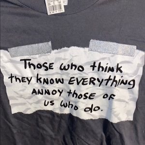 Men's size XL charcoal t-shirt - message on front